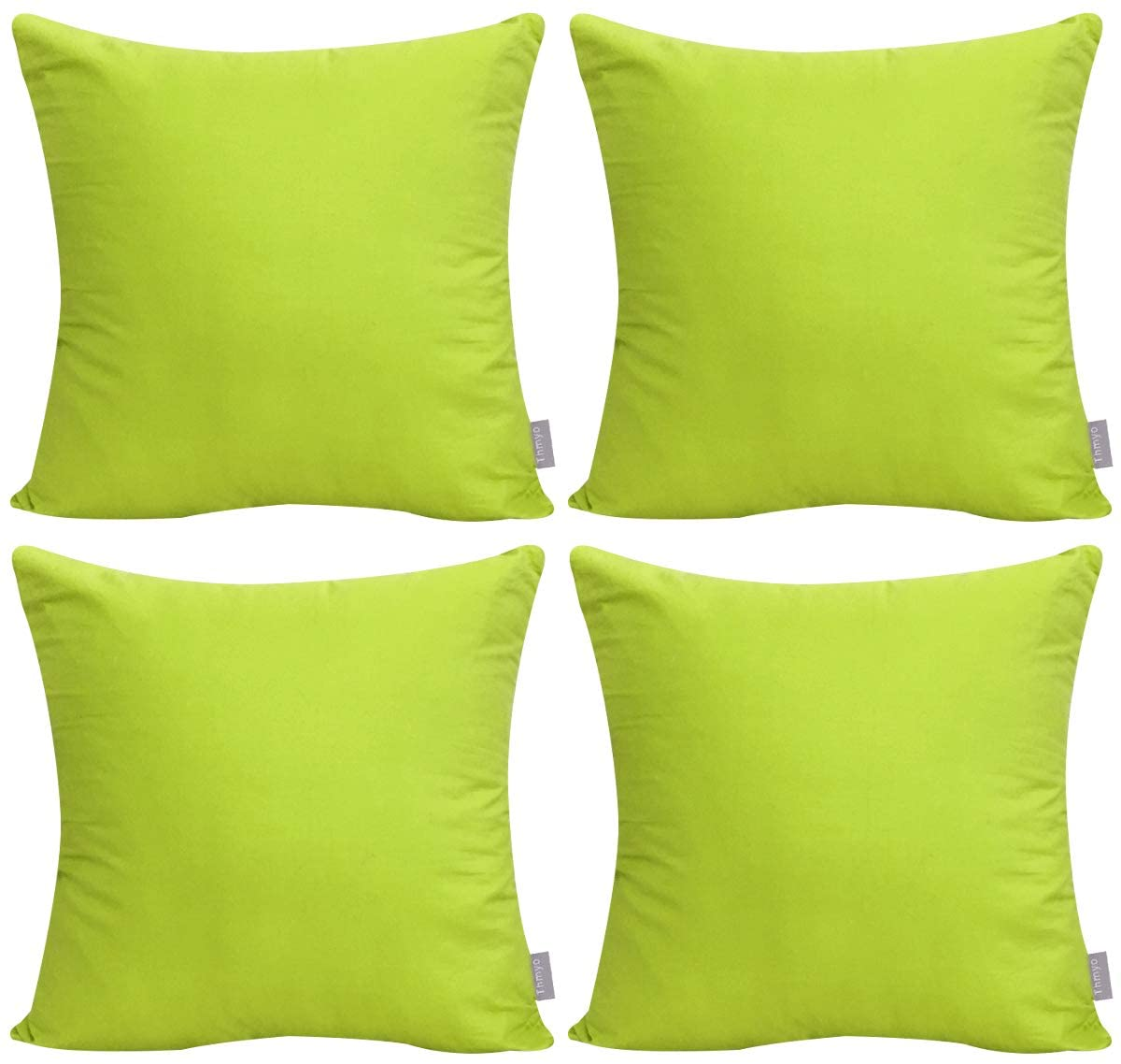 4-Pack 100% Cotton Comfortable Solid Decorative Throw Pillow Case Square Cushion Cover Pillowcase(Cover Only,No Insert)(18x18 inch/ 45x45cm,Light Green)