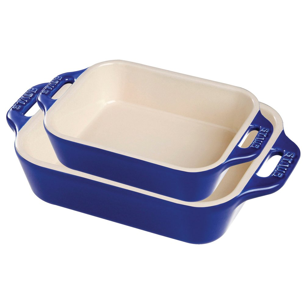 Staub 40508-628 Ceramics Rectangular Baking Dish Set, 2-piece, Dark Blue