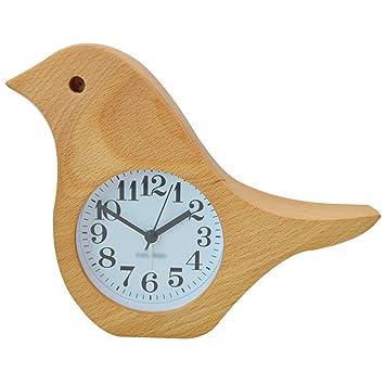 Aisi Réveil Enfant Silencieux Horloge De Table En Bois En Forme De L