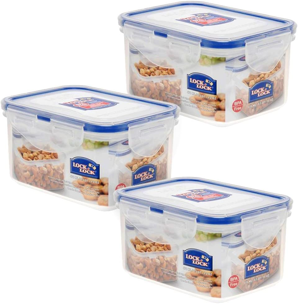 Lock & Lock 15-Fluid Ounce Water Tight Rectangular Food Container, Short, 1.9-Cup (Pack of 3)