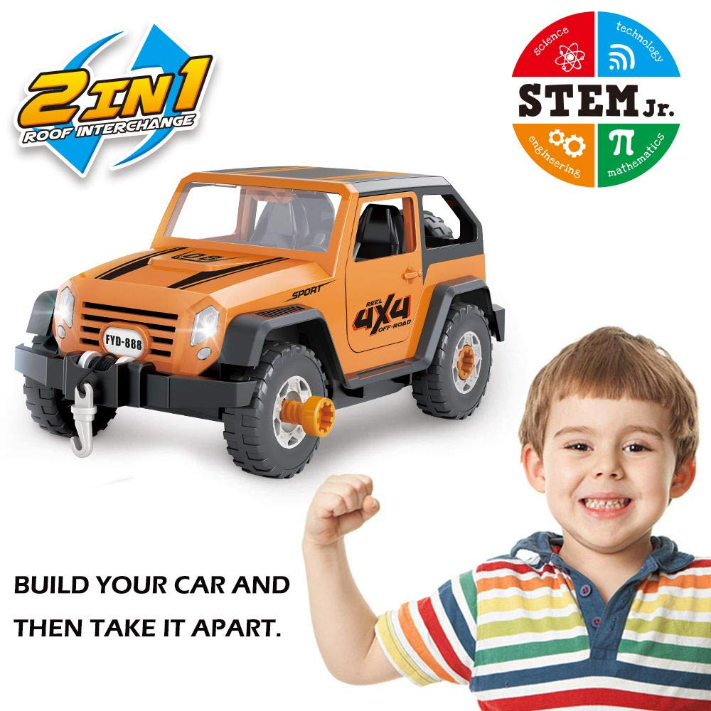 Limei STEM Land Rover Jeep Car Toy Self-Assemble Car Construction Tool with Power Drill Off Road Vehicle Automobile Fit Toy for Child Kid Toddler (Yellowish Brown)