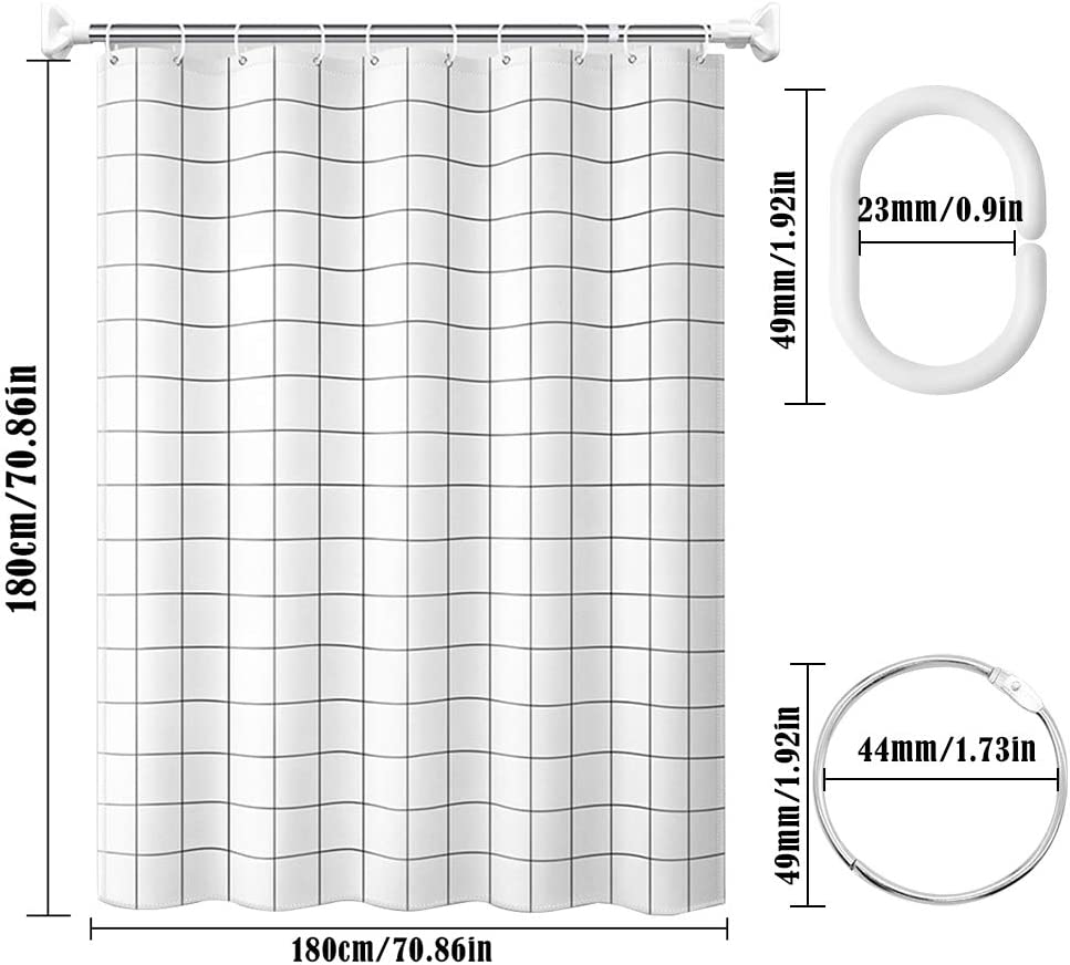 JUN-H Cortina De Ducha De Rejilla Blanca Antimoho Impermeable Cortina Opaca Eva Tambi/én Viene Con 12 Anillos De Cortina De Ducha De Metal Para Cortinas De Ba/ño 180 X 180 cm