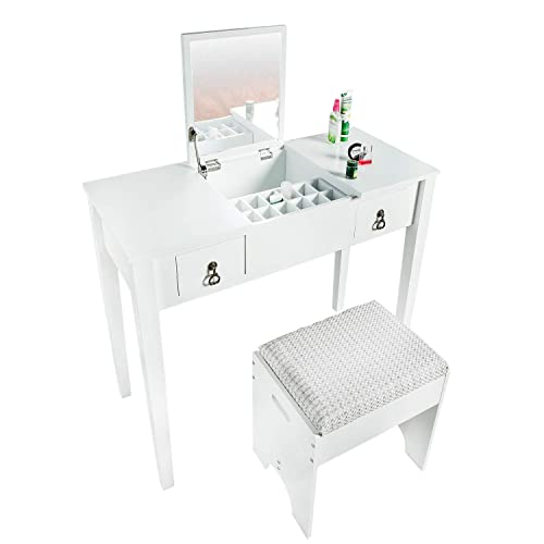 BAHOM Vanity Makeup Table Set with Mirror and Stool, Dressing Table for Girls Women, Bedroom, White