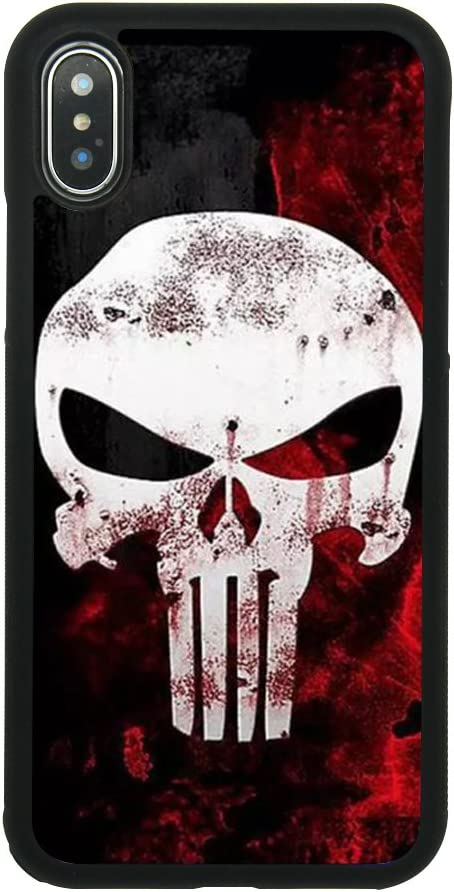 Punisher Skull Logo Case for iPhone X, iPhone Xs Comic TPU Silicone Gel Edge + PC Bumper Case Skin Protective Printed Phone Full Protection Cover