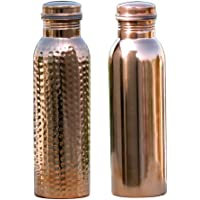 HealthGoodsAU - Set of 2 Pure Copper Water Bottles 900 Ml | Leak-Proof Ayurvedic Copper Water Bottle for Health Benefits | Joint-Less Copper Water Bottles