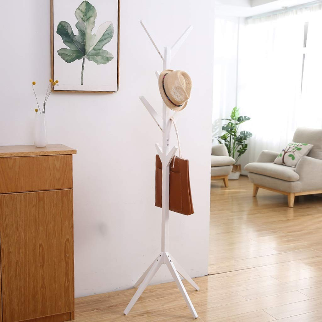 White Standing Coat Racks Coat Stand Clothes Rack Hooks for Umbrella Hat Storage Tree-Shaped Rack Hooks for Umbrella Hat Hanging Bedroom Hallway Free Standing -0223 (color   Wood color)