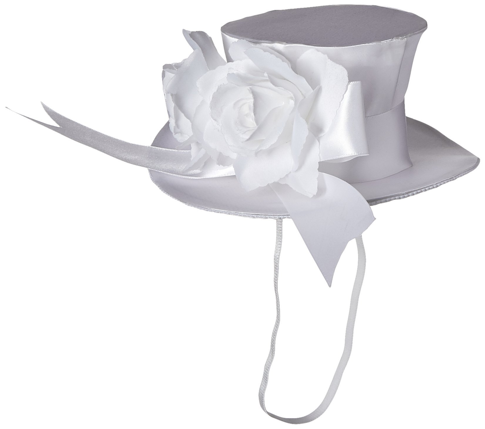 Leg Avenue Satin Top Hat With Flower And Bow Accent, White, One Size