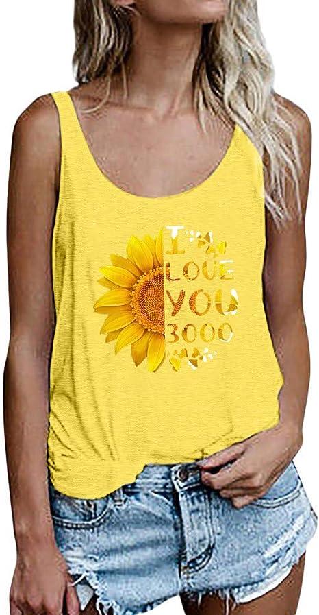 HAPPIShare Women's Summer Tops Sunflower Printing I Love ...