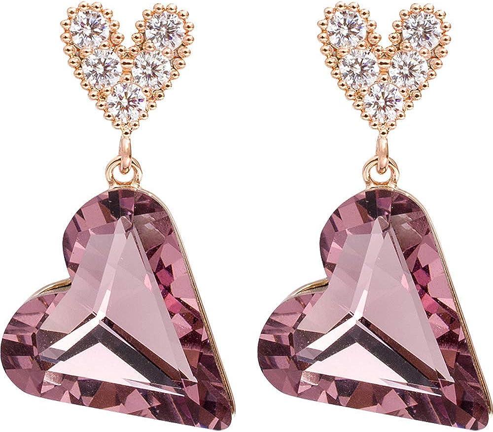 Pendientes de plata 925, corazón de durazno burdeos, pendientes de amor tridimensionales de cristal, accesorios para damas 1.1 * 2.2cm