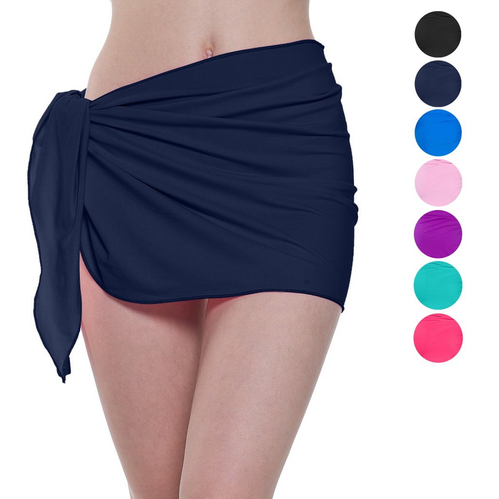 ChinFun Women's Soft Nylon Spandex Sarong Wrap Beach Swimwear Short Style Cover Up Pareo Swimsuit Wrap Solid Colors Navy