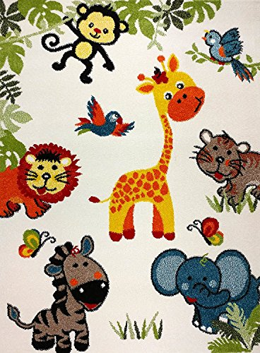 KC CUBS Boy and Girl Bedroom Modern Decor Area Rug and Carpet Collection For Kids and Children Happy Animal Nursery Friends (5' 3