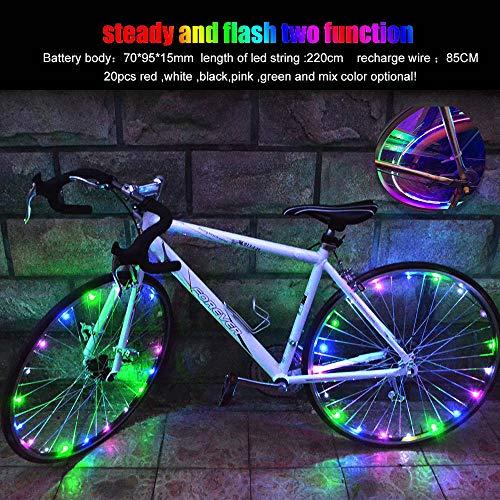 ble Bike Wheel String Lights, LED Waterproof Bicycle Spoke Light 20 LED 2 Light Modes Bicycle Rim Tire Lights for Mountain Bike/Road Bikes/BMX Bike/Hybrid Bike/Folding Bike Good Gift (Multicolor) ()