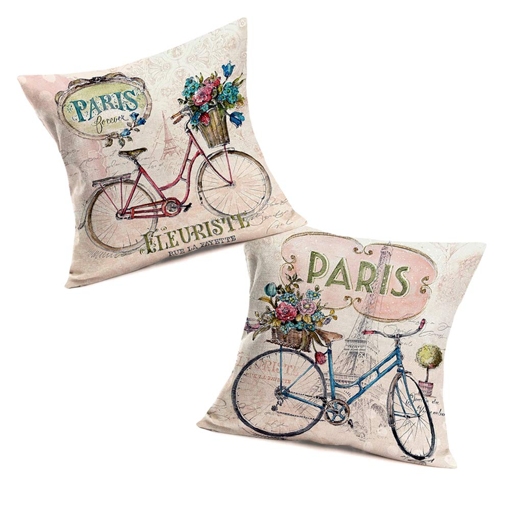 Fukeen Romantic Paris Throw Pillow Covers Blue Red Bike Flower Pillow Cases with EiffelTower Stamp Letters Pattern Sweet Home Wedding Decorations Cotton Linen 18x18 Inch Cushion Cover, 2 Pack