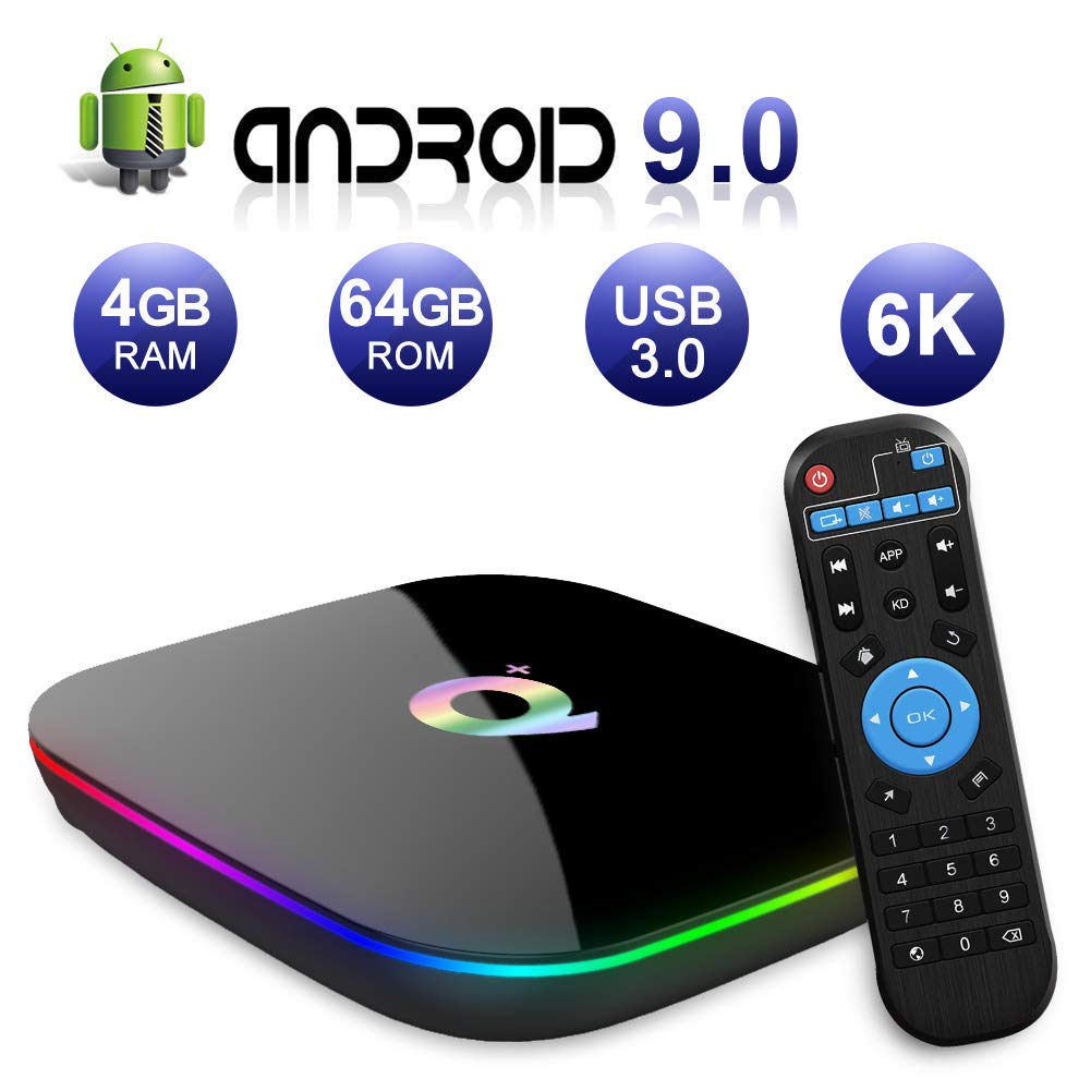 2019 Q Plus Android 9.0 TV Box 4GB RAM 64GB ROM H6 Quad-core Mali-T720MP2 WiFi 2.4GHz Support 6K H.265 HDMI 2.0 Ethernet RJ-45 by EVER EXPRESS