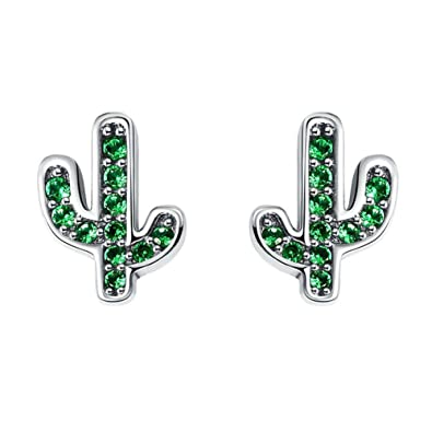 be256617f Amazon.com: Sterling Silver Cactus Stud Earrings with Green Cubic Zirconia:  Jewelry