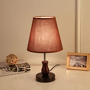 Lampe De Chevet,Led Lampe De Table En Bois Massif