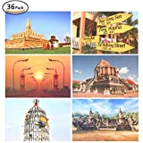 "Rumcent Postcard Set Of 36 pcs.Thailand Views Picture, Size: 14.3 CM x 9.3 CM (5.6"" x 3.7""), Ideal For Collectors, School Postcard Exchange Projects, Invitations, Gift"