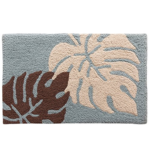 KEPSWET Rural Style Leaves Microfiber Bath Mat Shower Rugs Soft Durable Non-slip Foot Pad Small Bedside Livingroom Home Area Rug Door Mat Carpet (1'6×2'6, Blue)