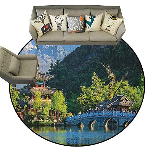 (Round Rug Mat Carpet,Ancient China,Old Town Scene of Lijiang Black Dragon Pool Park Jade Dragon Snow Mountain, Multicolor,Small mat Circular Modern Carpet Bedroom3 feet)