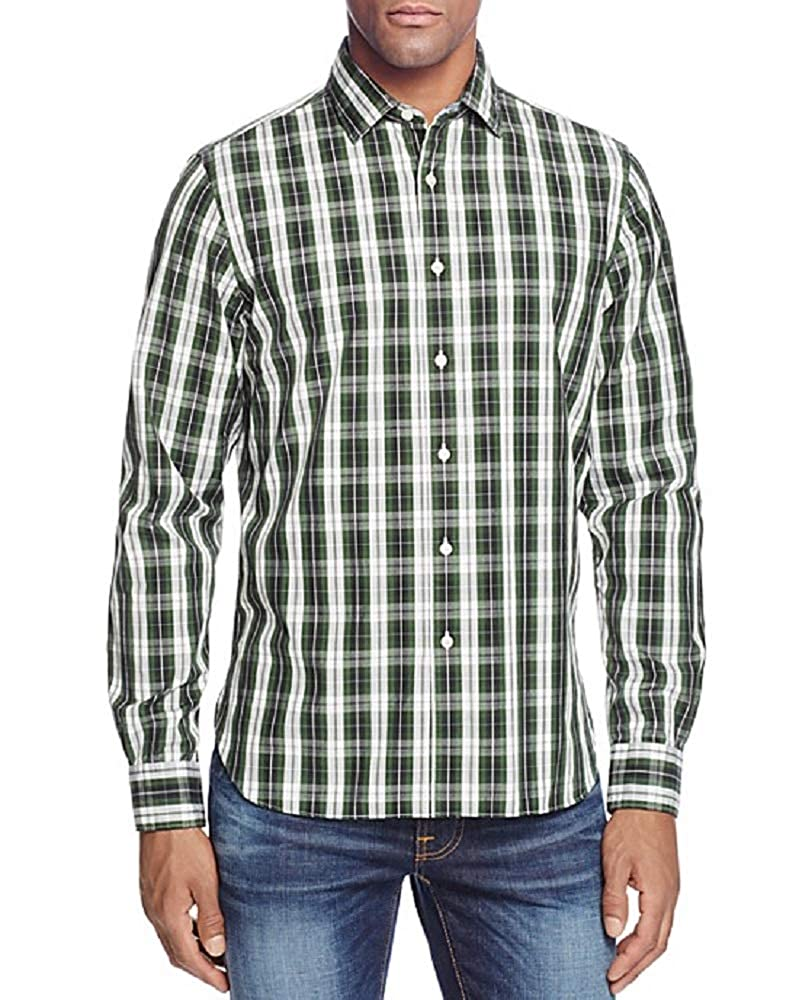 Bloomingdales 98 Hunter Green White Plaid Casual Dress Shirt Size L