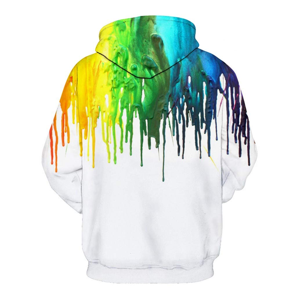 Men's Colorful Hooded Sweatshirt | Men Casual 3D Print Autumn Sprint Long Sleeve Tops | Loose Fit Hoodie Blouse with Pocket by Leadmall Men T-Shirts