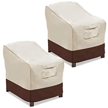 img buy Vailge Patio Chair Covers, Lounge Deep Seat Cover, Heavy Duty and Waterproof Outdoor Lawn Patio Furniture Covers (2 Pack - Medium, Beige & Brown)