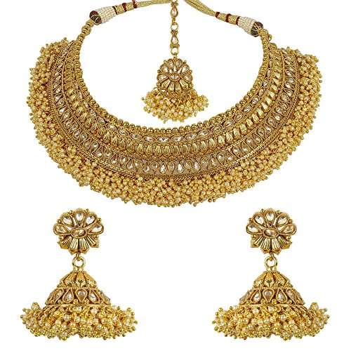 MUCHMORE Bollywood Beautiful Indian Gold Plated Awesome Traditional Polki Set (Traditional Indian Gold Jewelry)