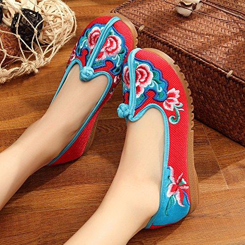 ZLL Gestickte Schuhe, Sehnensohle, ethnischer Stil, weibliche Tuchschuhe, Mode, bequem, lässig red