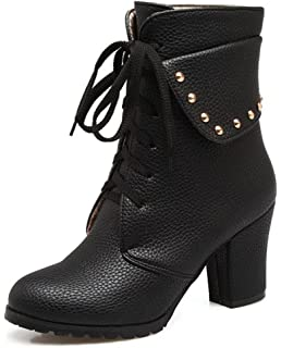 Women's Studded Lace Up Dressy Chunky High Heel Collar Short Boots Fold Over Round Toe Platform Ankle Booties