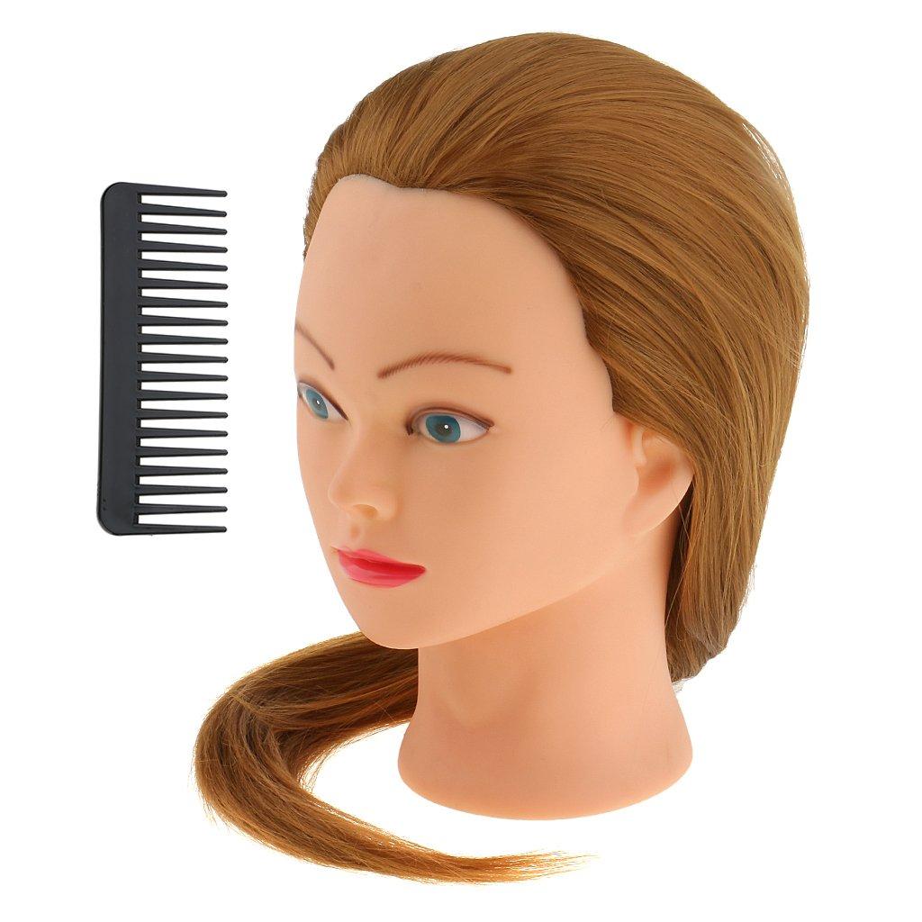 MagiDeal Professionnel Tête d'Exercice à Coiffer Tête Mannequin à Formation Coiffure Tête Entraînement Découpe Tressage de Cheveux avec Peigne - Bleu + Vert + Jaune