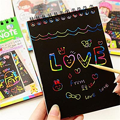 3Pack Scratch Art Rainbow Mini Notes Scratch Magic Notes With Wooden Stylus.Rainbow Scratch Paper.Perfect Gift for Girls or Boys, Travel Activity for Airplane or Car