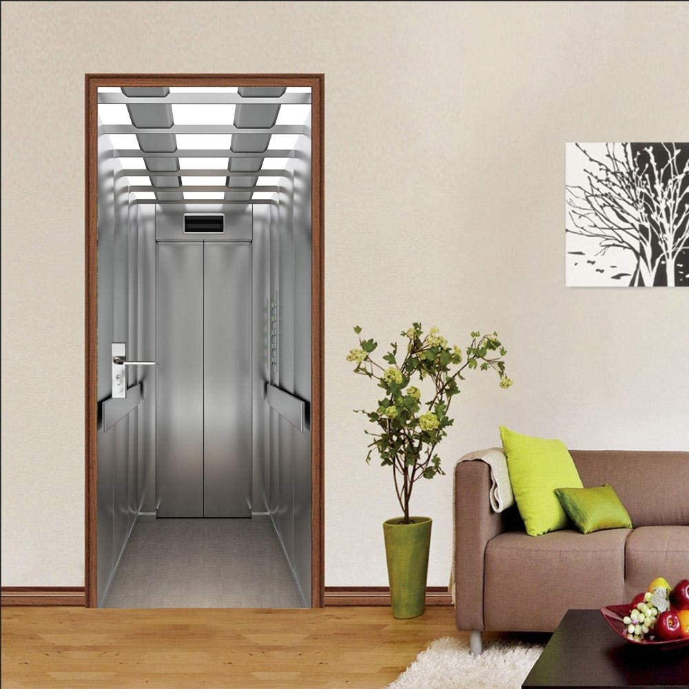 LOVEJJ Pegatinas de puerta en 3D Elevador Puerta de madera DIY Papel autoadhesivo Mural etiqueta Papel tapiz para el dormitorio calcomanía de la puerta de la casa 77x200 cm: Amazon.es: Bricolaje y