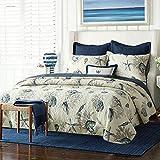 quilt cotton queen blue - Blue Shell Tread Design 3 Piece Comforter Quilt Bedspeads Sets Queen Cotton White&Blue