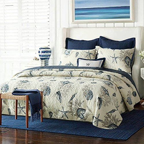 blue and white queen quilt - 1