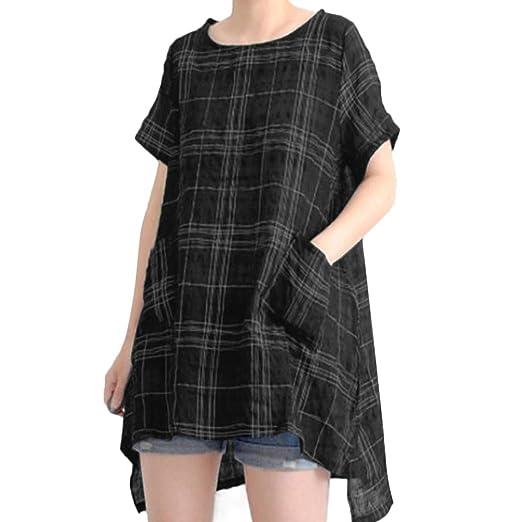 b0b881a164c0f AOJIAN Blouse Women Short Sleeve T Shirt Plaid Cotton Linen Vintage Casual Loose  Tops Black