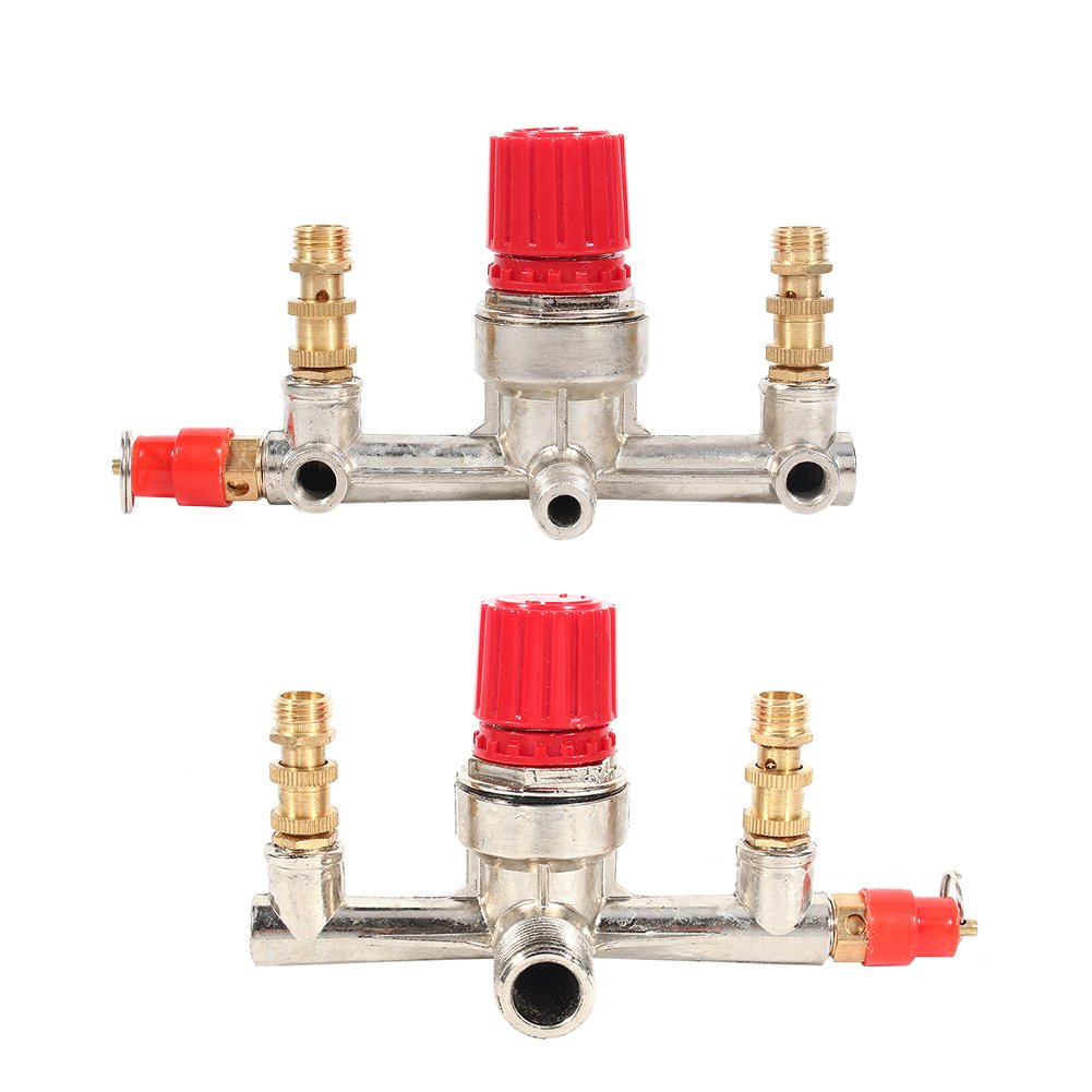 Double Outlet Tube Air Pressure Regulator Valve Zinc Alloy Air Compressor Switch Fit Part