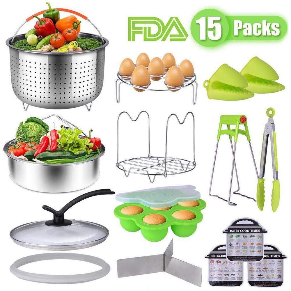 CCJK 15 Pieces Instant Pot Accessories Set, Pressure Cooker Accessories Compatible with Instant 6 Qt - 304 Stainless Steel Steamer Basket,Egg Bites Mold,Steaming Rack,Glass Lid,Kitchen Tong and More