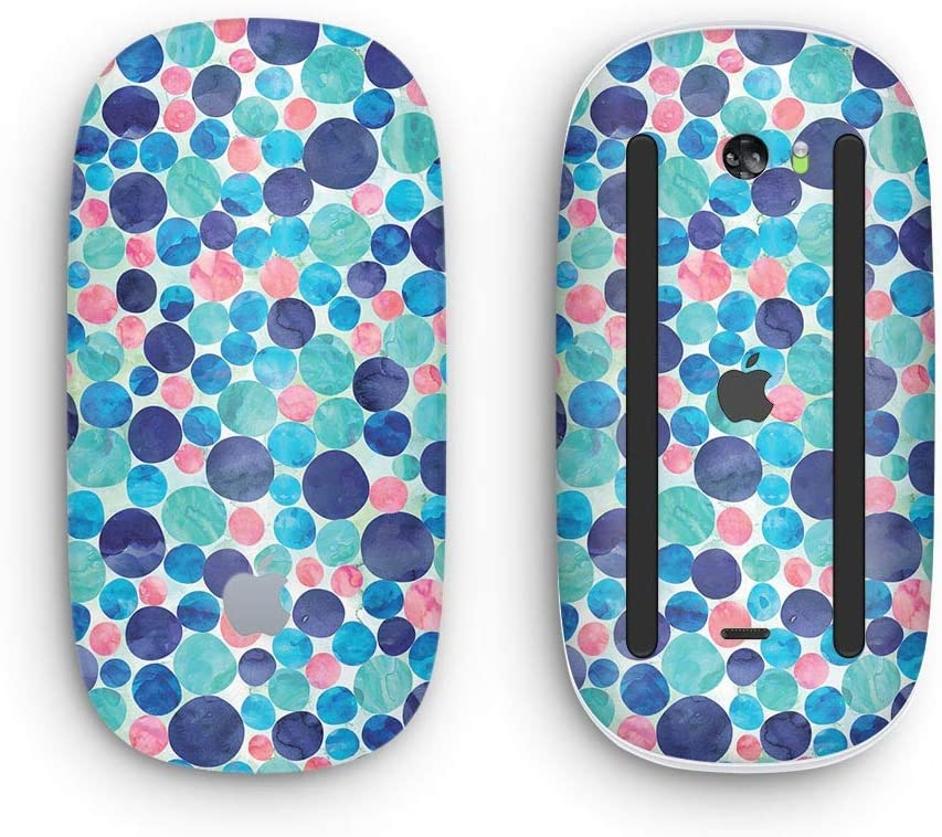 Mixed Aqua Blue and Pink Watercolor Dots Wireless, Rechargable with Multi-Touch Surface Design Skinz Premium Vinyl Decal for The Apple Magic Mouse 2