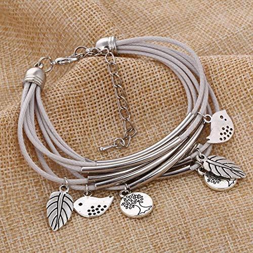 Bodyslam 2018 Fashion Silver Charm Leaves Tibetant Silver Multilayer Bracelets for Women Pulseiras Pendant Handmade Bracelets & Bangles