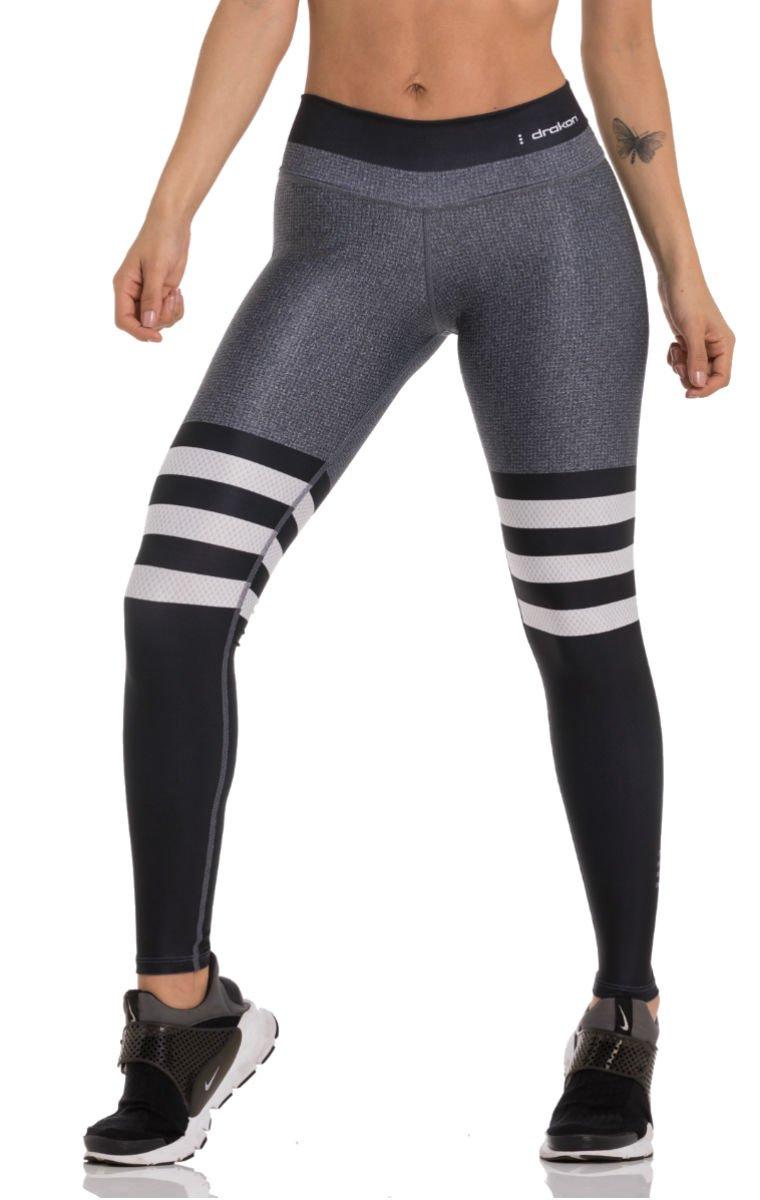 Drakon Many Styles of Crossfit Leggings Women Colombian Yoga Pants Compression Tights (Grey Black)