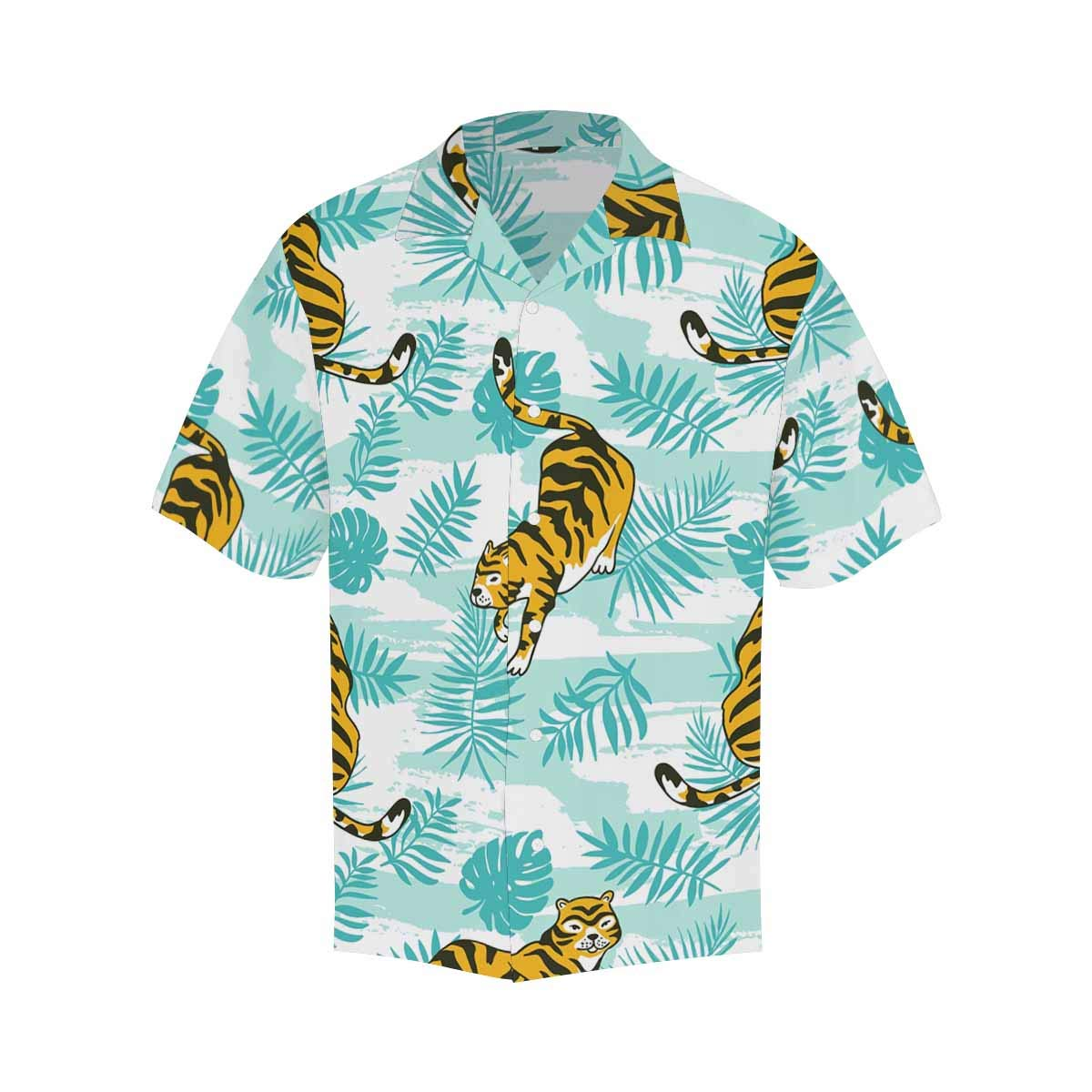 InterestPrint Mens Loose Summer Pink Flamingos Palm Leaves Short Sleeve Button Front Summer Printed Shirt for Men