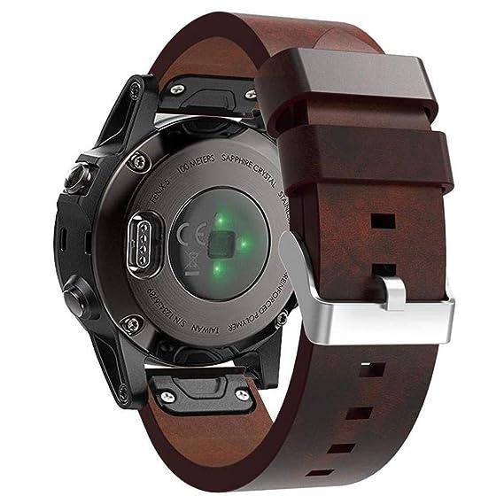 Compatible Garmin Fenix 5/ Fenix 5 Plus Watch Band Women Men, 22mm Quick  Release Easy Fit Stylish Replacement Leather Bands Straps Wristbands  Bracelet