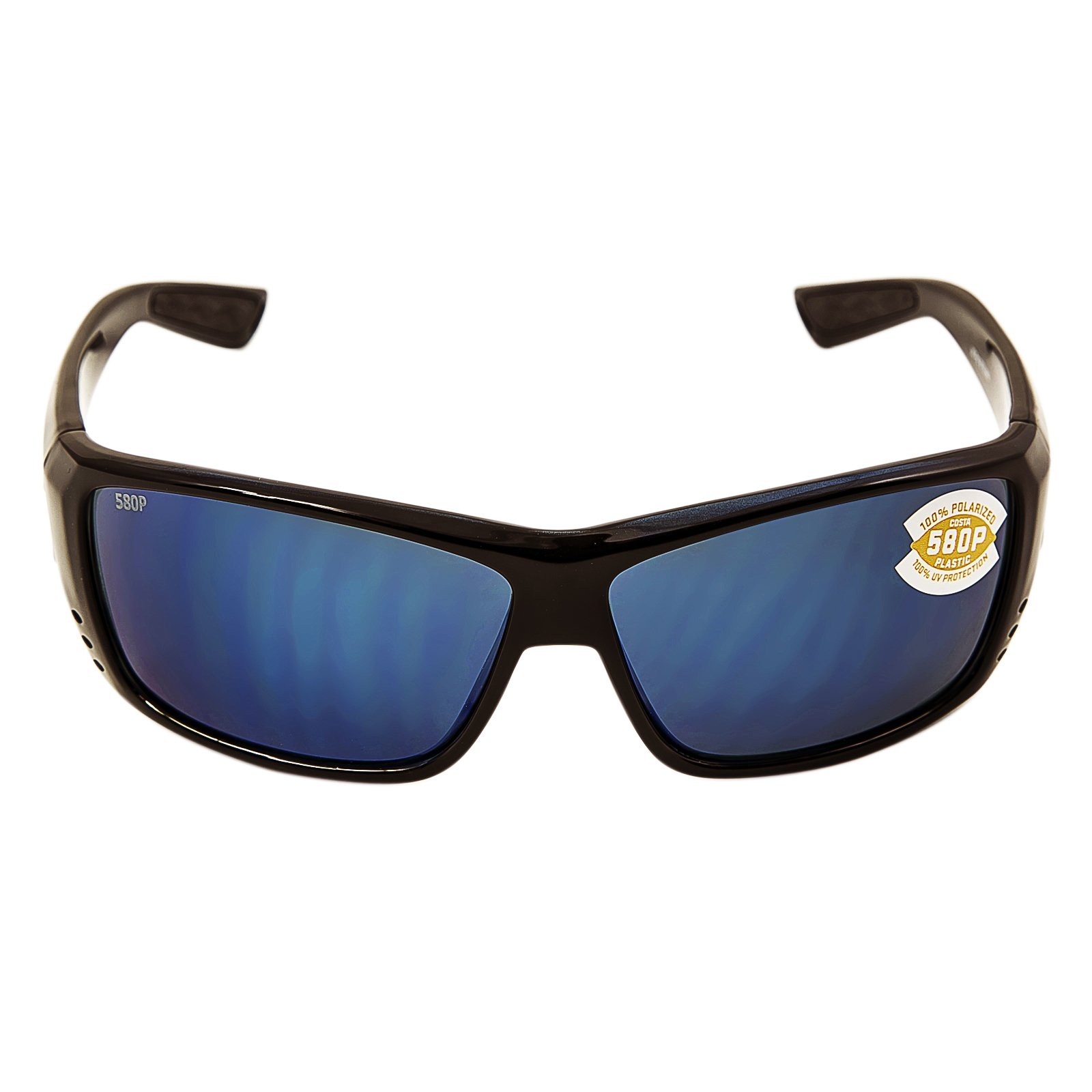 Costa Del Mar Mag Bay Sunglasses, Shiny Black, Blue Mirror 580P Lens