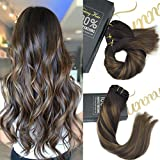 Sunny Clip in Hair Extensions Remy Human Hair 16inch 9pcs 140g Full Head Highlight Chestnut Brown mixed Dark Brown Balayage Dip-Dye Color Clip in Hair Extension