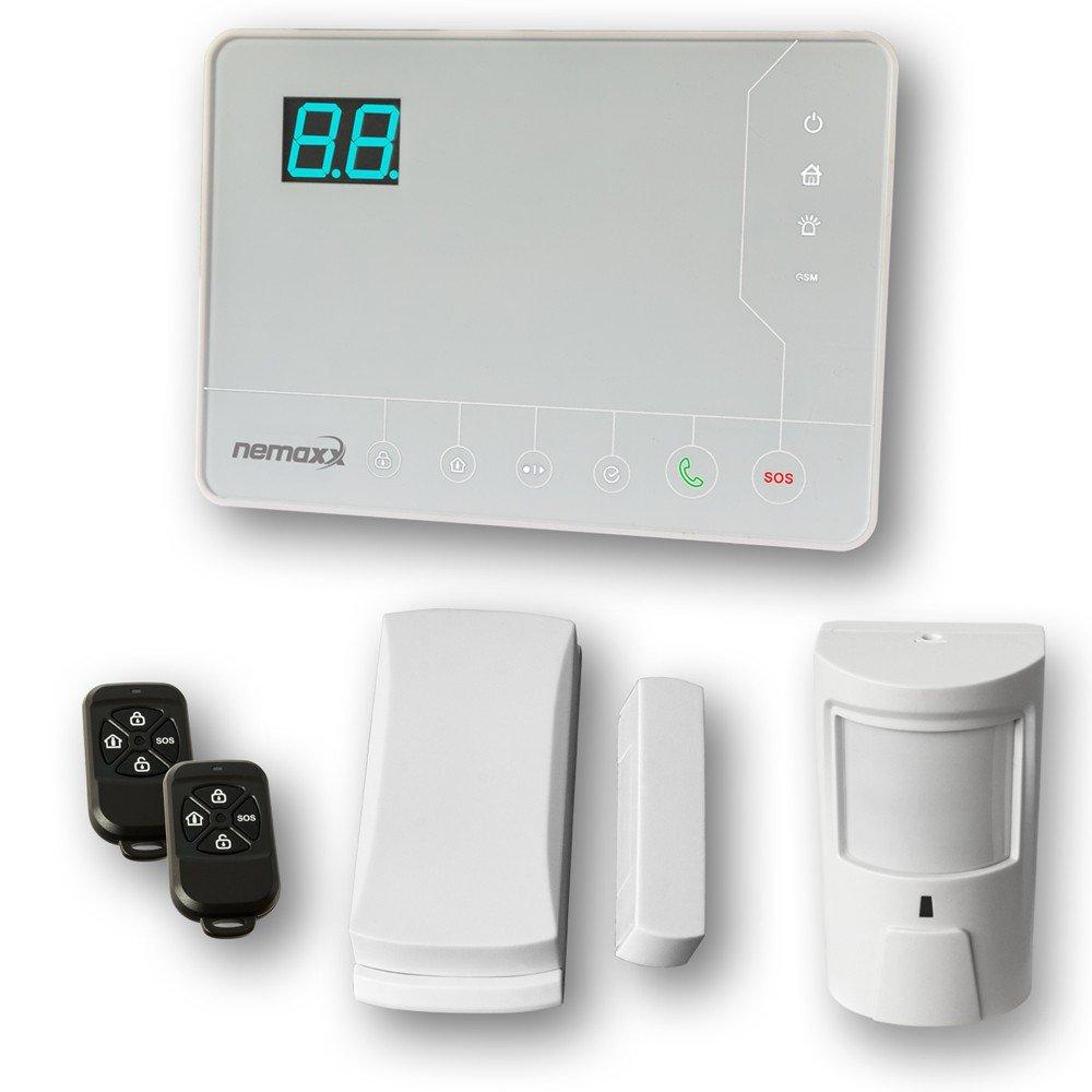 Nemaxx Alarmanlage GSM Alarmsystem SET Haus Alarm mit Funk Bewegungsmelder Öffnungsmelder Tür Sensor Türmagnet Fernbedienung Infrarotsensor, K2W
