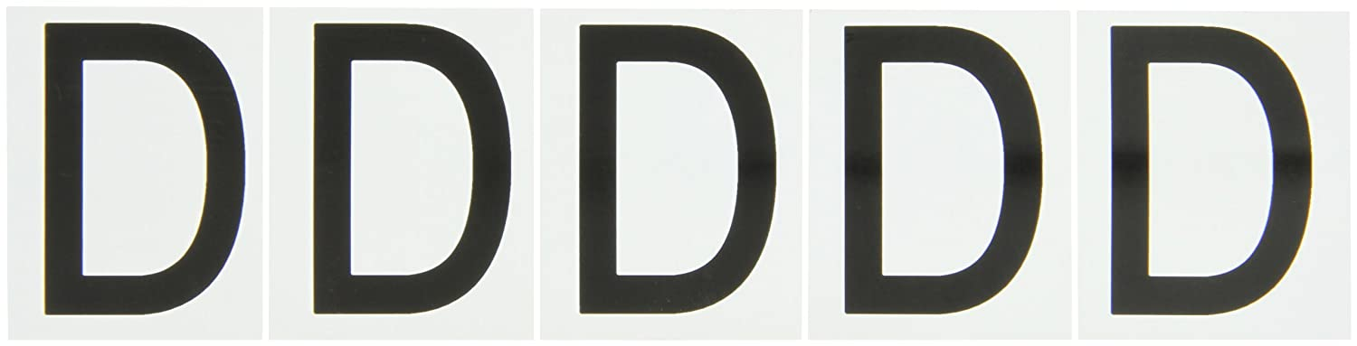 5 Labels Per Card Black On White Color Indoor Or Outdoor Letter Label Legend D Brady 9714-D 97 Series 2-1//4 Height 1-13//16 Width B-946 High Performance Vinyl