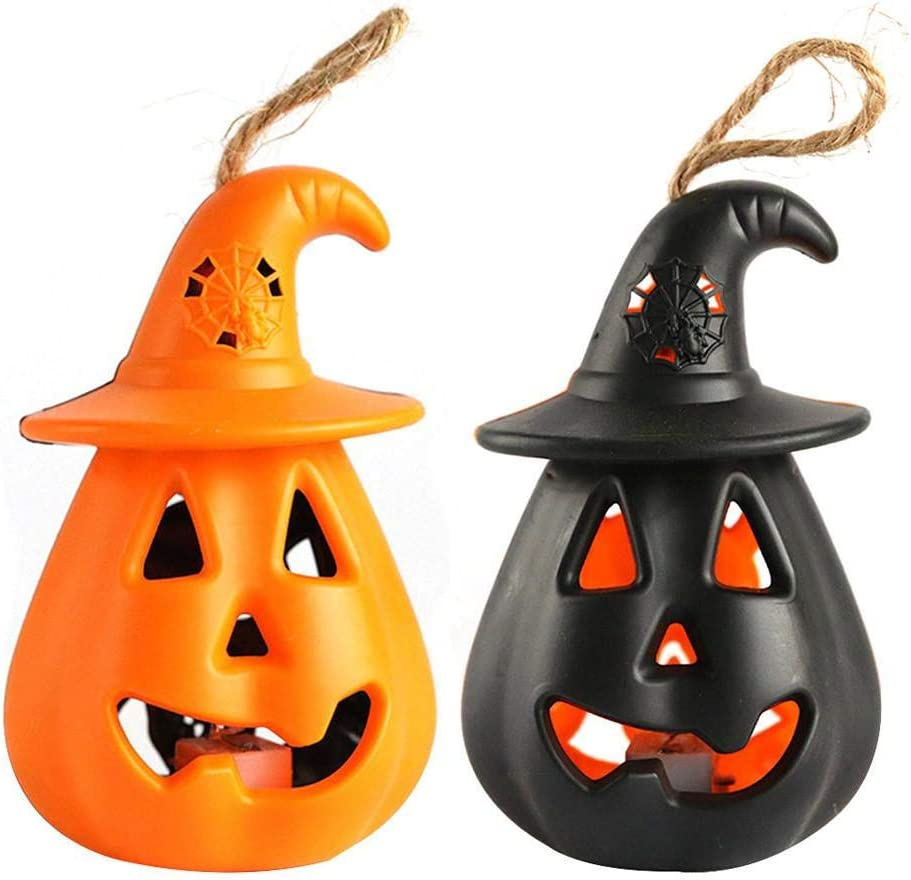 Pumpkin Decor for Halloween Party Decorations, 8x8x12cm Colorful Light Candle Lamp LED Pumpkin Lights Halloween Pumpkin Lantern