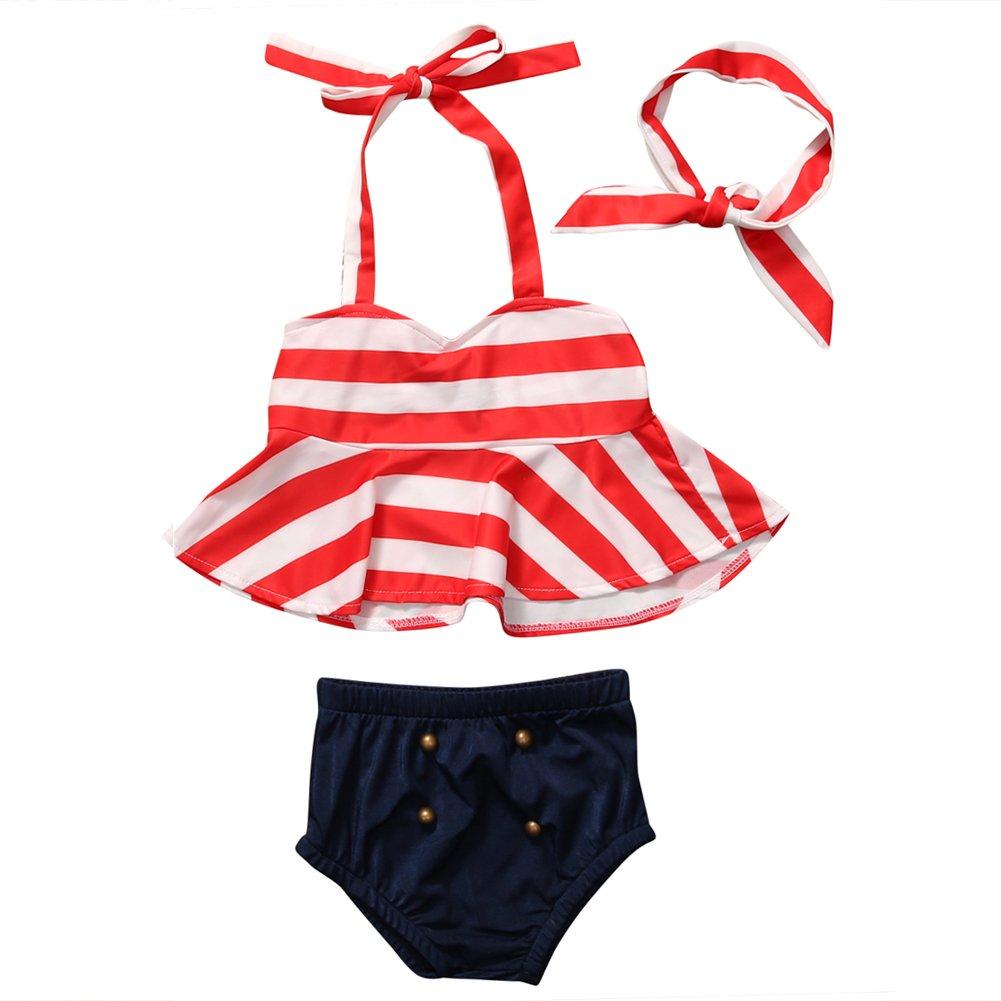 Toddler Baby Girls Striped Halter Bra Top+Bottom with Headband Bikini Set