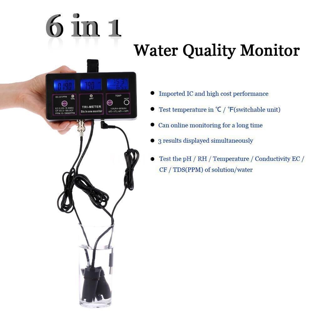 New 6 in1 Water Testing Meter Digital LCD PH/TEMP/EC/CF/ORP/TDS Monitor US Plug C1E2