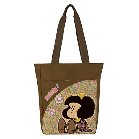 77f8b6ea4c5d80 Chenson Bolso Escolar Grande Juvenil Femenino Color Beige con café Linea  Mafalda: Amazon.com.mx